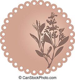 floral., vector, grunge, illustratie