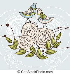 floral, vector, illustratie