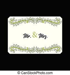 floral, vector, kaart, mr., mrs., trouwfeest