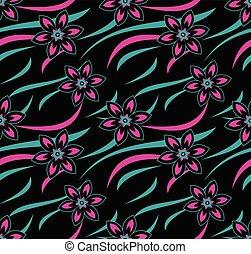 floral, vector, neon, seamless, behang