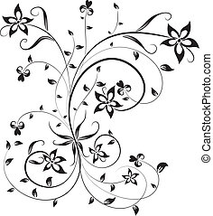 floral, vector, ontwerp, element