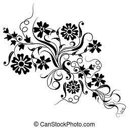 floral, vector, ontwerp, element