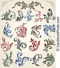 floral,  vector, ornamento, elementos