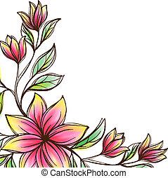 floral, vector, ornamento