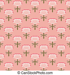 Floral vector pattern for fall fashion - Hand drawn modern...