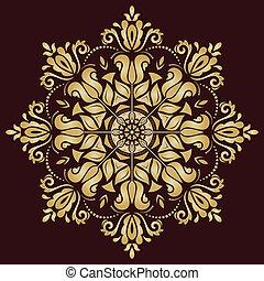 Floral Vector Pattern. Orient Golden Ornament - Floral...