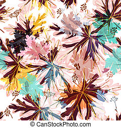 Floral vector pattern with autumn colorful foliage