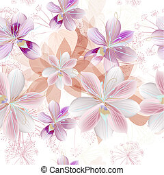 Floral vector pattern with beautiful pink flowers