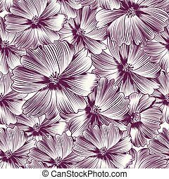 Floral vector pattern with cosmos flowers.eps