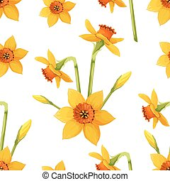 Floral vector pattern with daffodils.