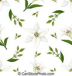 Floral vector pattern with lilies