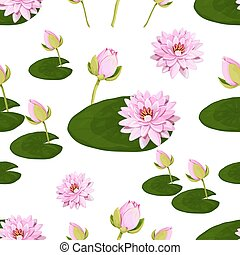 Floral vector pattern with lotuses.