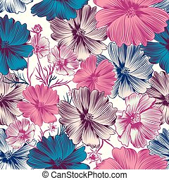 Floral vector pattern with pink cosmos and blue flowers.eps