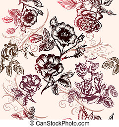 Floral vector pattern with roses for design
