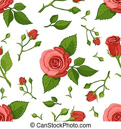 Floral vector pattern with roses