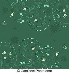 floral, vector, plano de fondo, con, vendimia, pauta flor, y, butterflies.