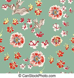 Floral vector rustic pattern with cosmos flowers.eps