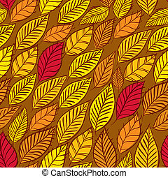Floral vector seamless pattern, autumn leaves seamless backgroun