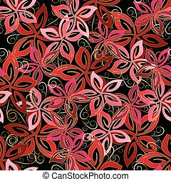 Floral vector seamless pattern. Red flowers.