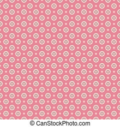 Floral vector seamless pattern with dots (tiling). Pink, white and blue shabby color. Endless texture can be used for printing onto fabric and paper or scrap booking. Flower abstract shape.