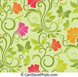 floral, vector, seamless, plano de fondo