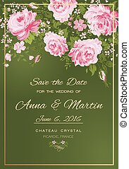 Floral vector vintage invitation with pink roses.