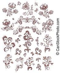 floral, vendange, éléments, conception