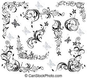 floral, vendange, éléments décoratifs