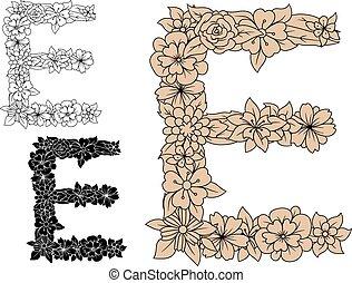 floral, vendange, éléments, e, lettre