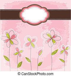 floral, vendange, cadre, carte