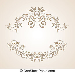 floral, vendange, cadre