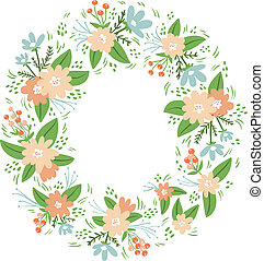 floral, vendange, cadre, couronne, compositions