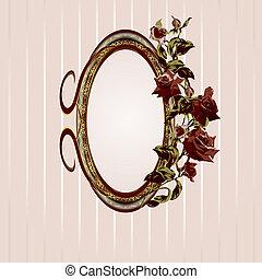 floral, vendange, cadre, roses