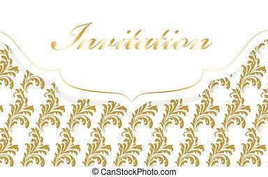 floral, vendange, carte, ornements