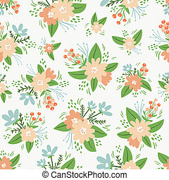 floral, vendange, compositions, seamless, modèle