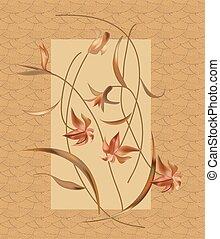 floral, vendange, conception, fond, élégant
