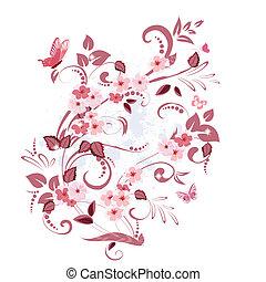 floral, vendange, conception, ton, modèle