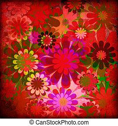 floral, vendange, fond