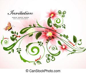 floral, vendange, frontière, conception, ton