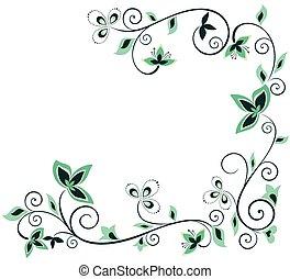 floral, vendange, frontière, vert