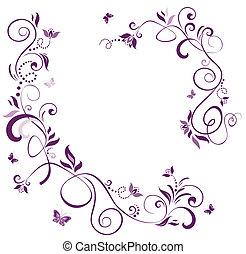 floral, vendange, frontière, violet