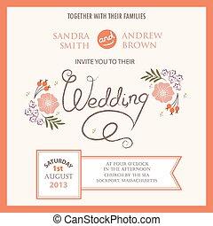 floral, vendange, invitation mariage