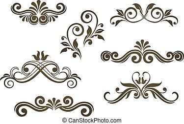 floral, vendange, motifs