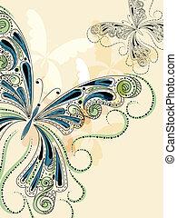 floral, vendange, papillons, vecteur, ornement