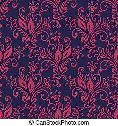 floral, vendange, pattern., seamless