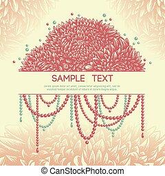 floral, vendange, perles, cadre, asters