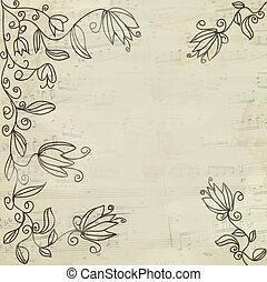 floral, vendange, portée, fond, musique