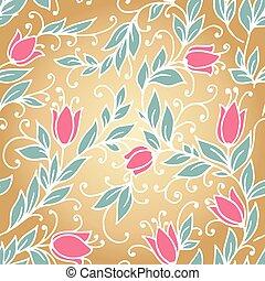 floral, vendange, seamless