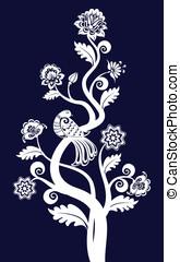 floral, vendange, vecteur, oiseau, fond