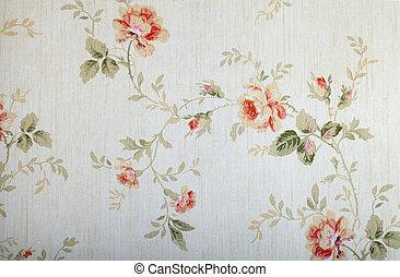 floral, vendange, victorien, modèle papier peint